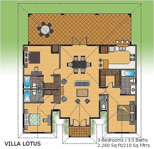 Three bedroom caribbean villa blue cove realtyblue cove for 3 bedroom caribbean house plans