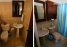The bathrooms in the beach condo